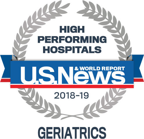 USNWR geriatrics and aging badge