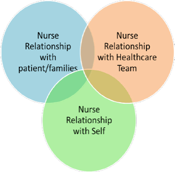 Venn diagram showing the Relationship Based Care model