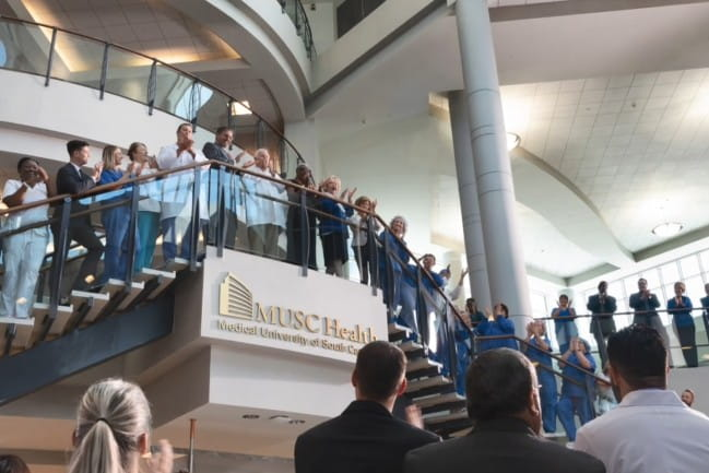 Image of employees celebrating opening of MUSC in Pee Dee region.
