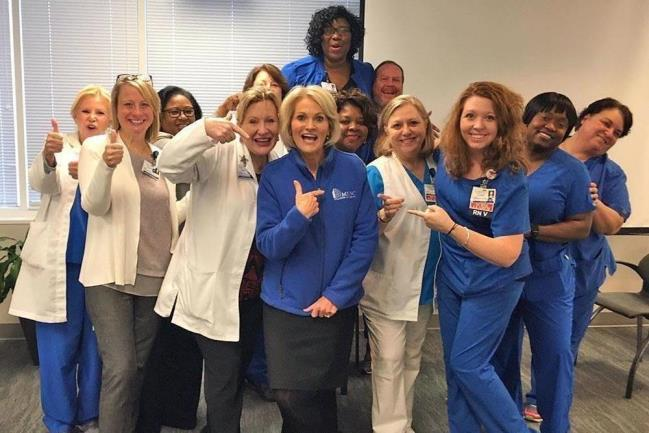 New MUSC Health employees celebrate purchase of four community hospitals in Chester, Lancaster, Florence, and Marion South Carolina.