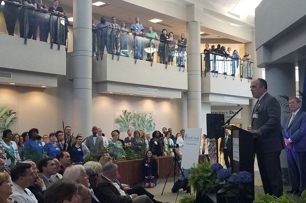 MUSC Health CEO Patrick Cawley visits four new community hospitals and talks with employees.