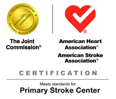 Image with Joint Commission Logo and American Heart Association logo that reads Certification | Meets standards for Primary Stroke Center