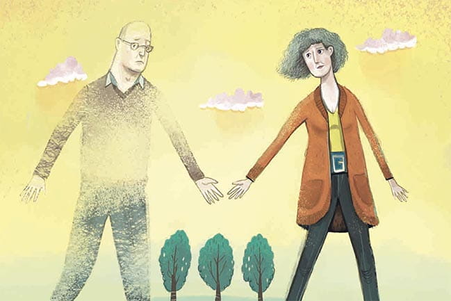 Illustration for Vanishing Act Article - a couple holding hands, one of them disappearing.