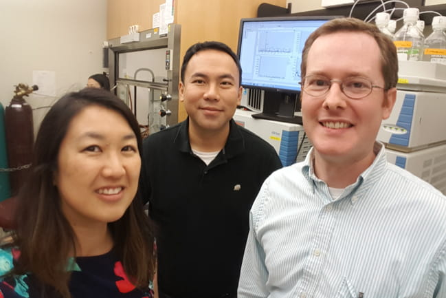 Neuroene Therapeutics co-founders Dr. Sherine Chan (left) and Dr. James Chou (center); Chief Scientific Officer Dr. Richard Himes (right)
