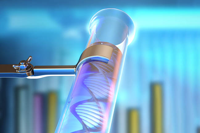Test tube with DNA illustration