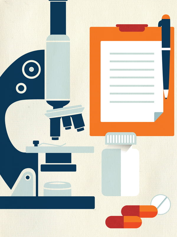 Illustration of Microscope and Medications to Suggest Clinical Trial