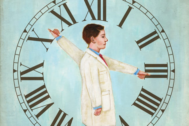 Illustration-of-Physician-Against-BackDrop-of-Clock