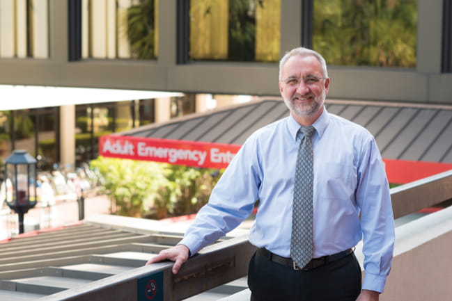 Photo of Dr. Edward C. Jauch outside adult ER entry