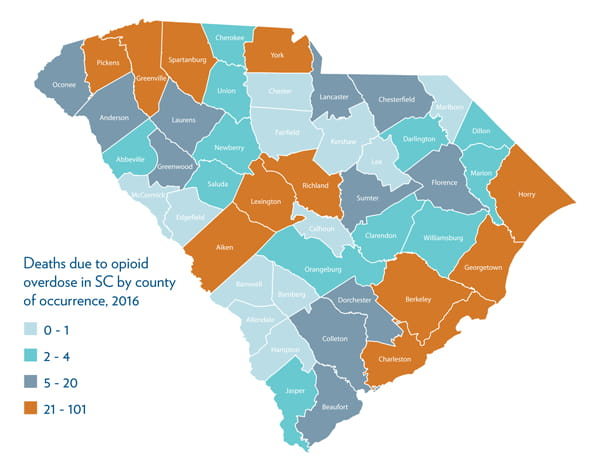 SC State map of deaths due to opioid overdose in SC by county of occurrence