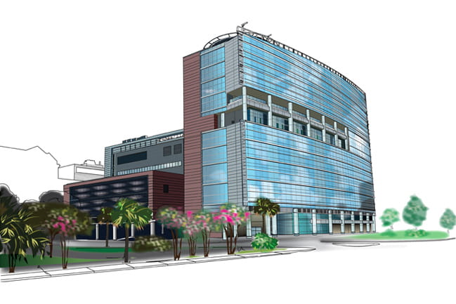 Illustration of the new MUSC Children's Hospital with descriptions of each floor.