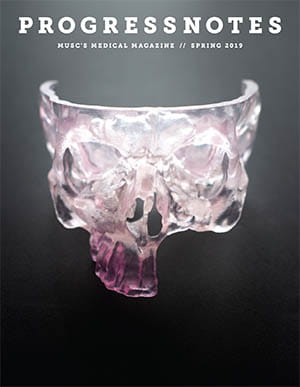 Cover of the Sprint 2019 issue of Progressnotes depicting a 3D printed skull.