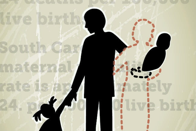 Illustration depicting the silhouettes of a family, where the silhouette of the mother is a dotted line, as if showing she has disappeared.