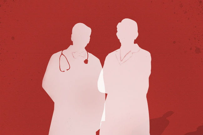 silhouette of two doctors standing next to one another.