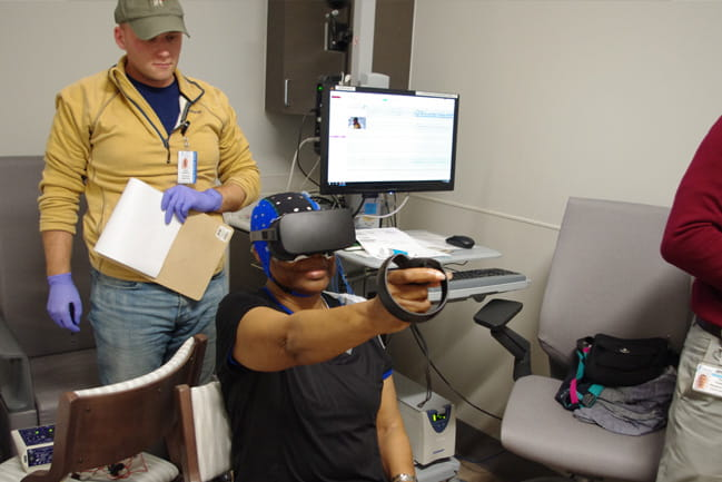 Patient using virtual reality goggles