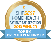 Award Logo that reads SHP Best Home Health Patient Satisfaction 2019 Winner Top 55 Premier Performer