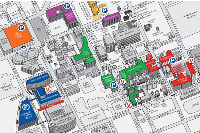 Map of the downtown Charleston campus of MUSC.