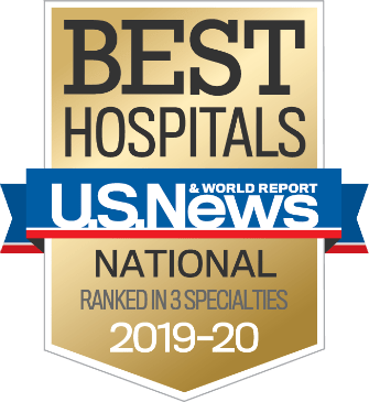 Badge for Best Hospitals U.S. News and World Report National Ranked in 3 Specialties 2019-2020