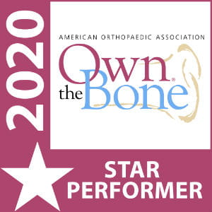 Image of an award designation from the American Orthopaedic Association that reads: Own the Bone 2020 Star Performer