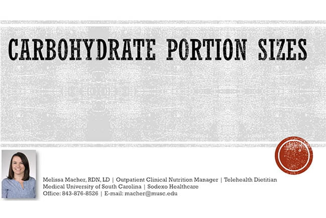 carbohydrate portion size screen capture