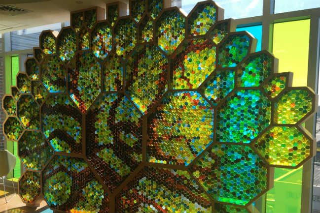 glass artwork in the chapel