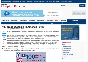 Screen capture of the Beckers Hospital Review article