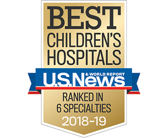 USNWR Best Children's Hosptials in six specialties 2018-2019 badge