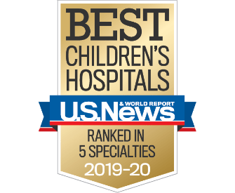 Badge from U.S. News & World Report that reads Best Children's Hospitals, U.S. News & World Report, Ranked in 5 Specialties, 2019-2020