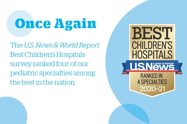 Once Again the U.S. News & World Report Best Children's Hospitals survey ranked four of our pediatric specialties among the best in the nation. Top 50 in the Nation #1 in South Carolina. Best Children's Hospitals U.S. News & World Report Ranked in 4 Specialties 2020-2021