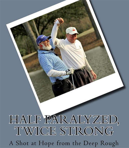 Book cover showing two men on a golf course with arms raised up
