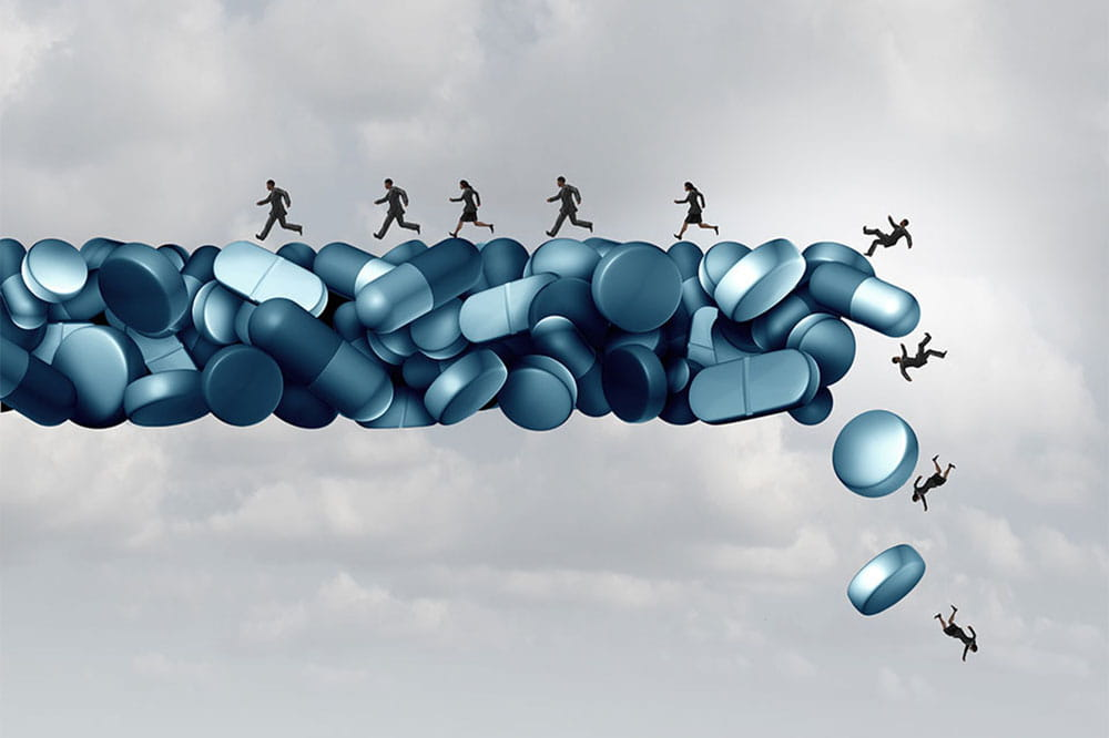 Illustration of people trying to run away from opioid addiction