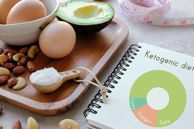 This photo illustration shows some of the food included in the high-fat, low carb ketogenic diet.