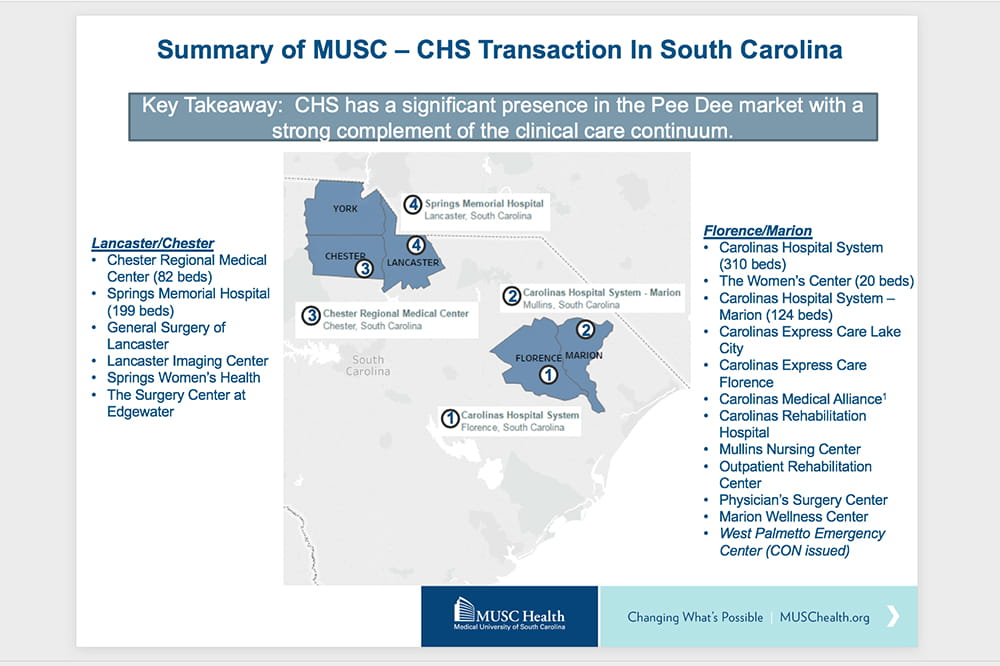 Slide from a powerpoint presentation showing location of community hospitals that MUSC intends to purchase