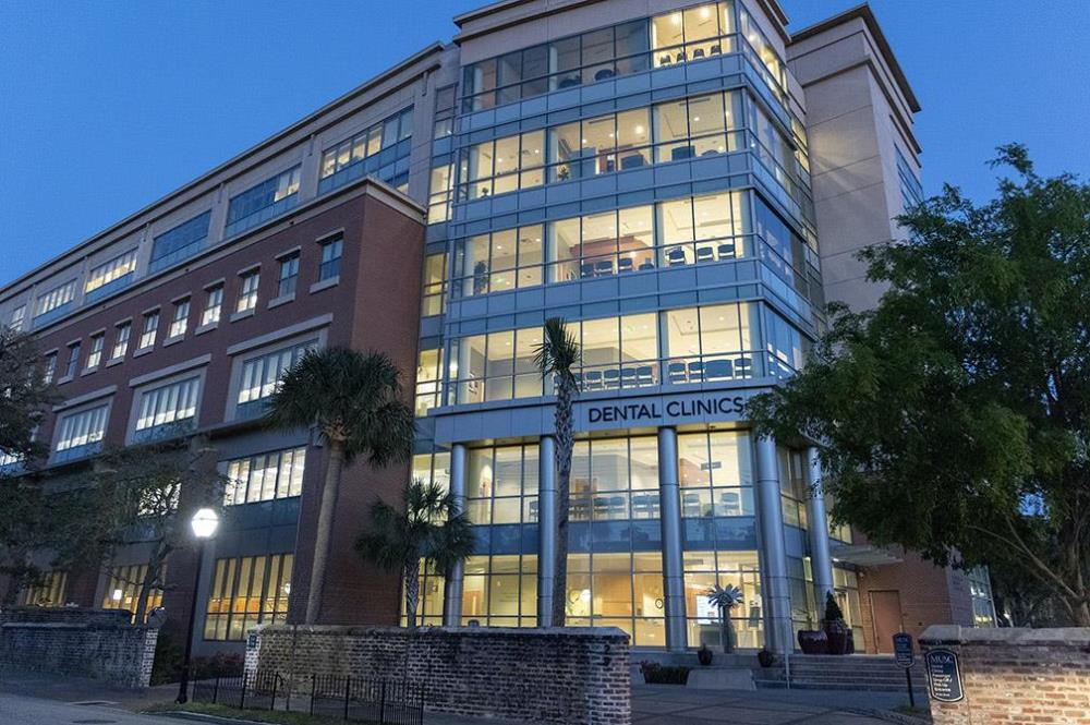 Exterior of MUSC's Dental Clinic Building at dusk