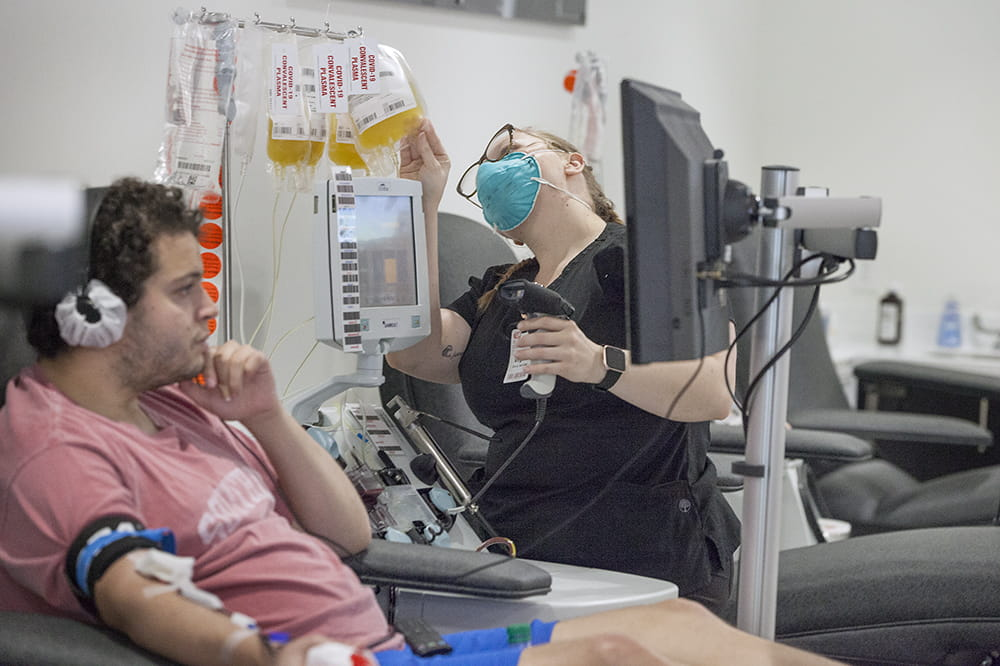 Patients like Mount Pleasant's Rory Silverman has recovered from COVID-19 and met criteria to donate plasma at the Blood Connection in North Charleston.