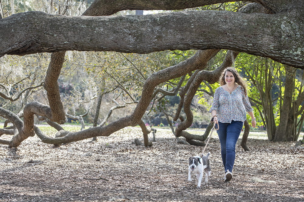 Vaccine trial participant Kelly Warren walks her dog.